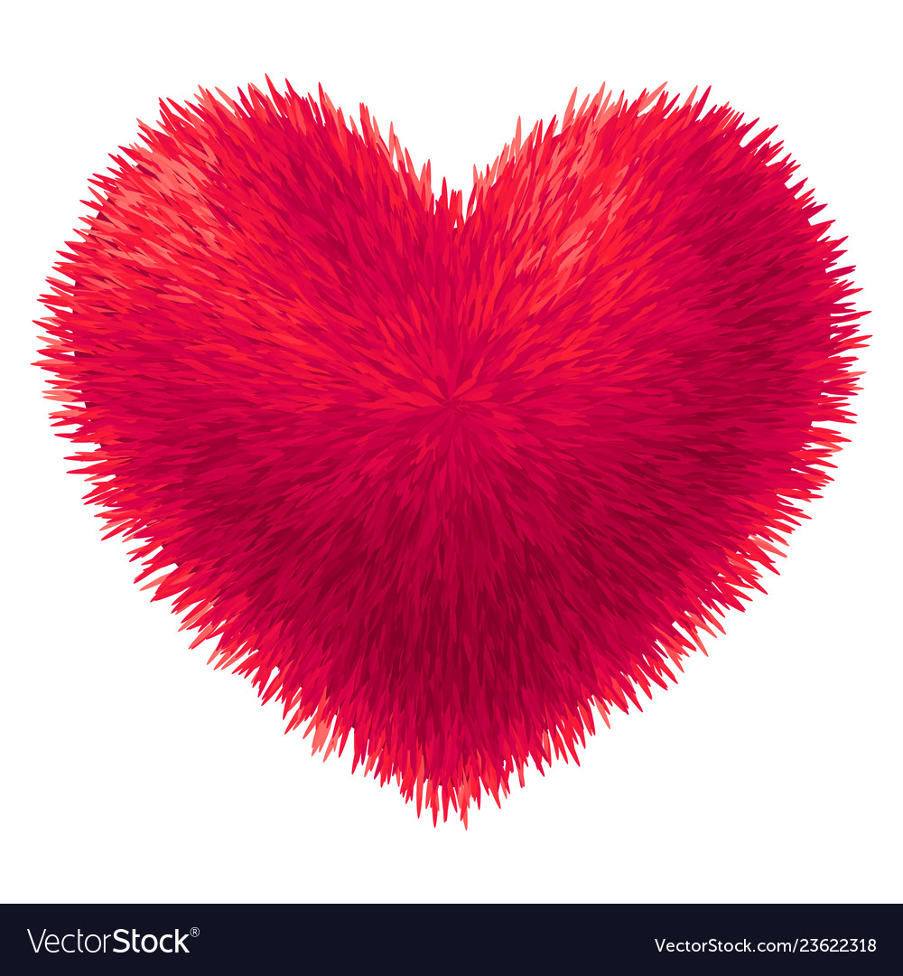 Red fur heart isolated on white background