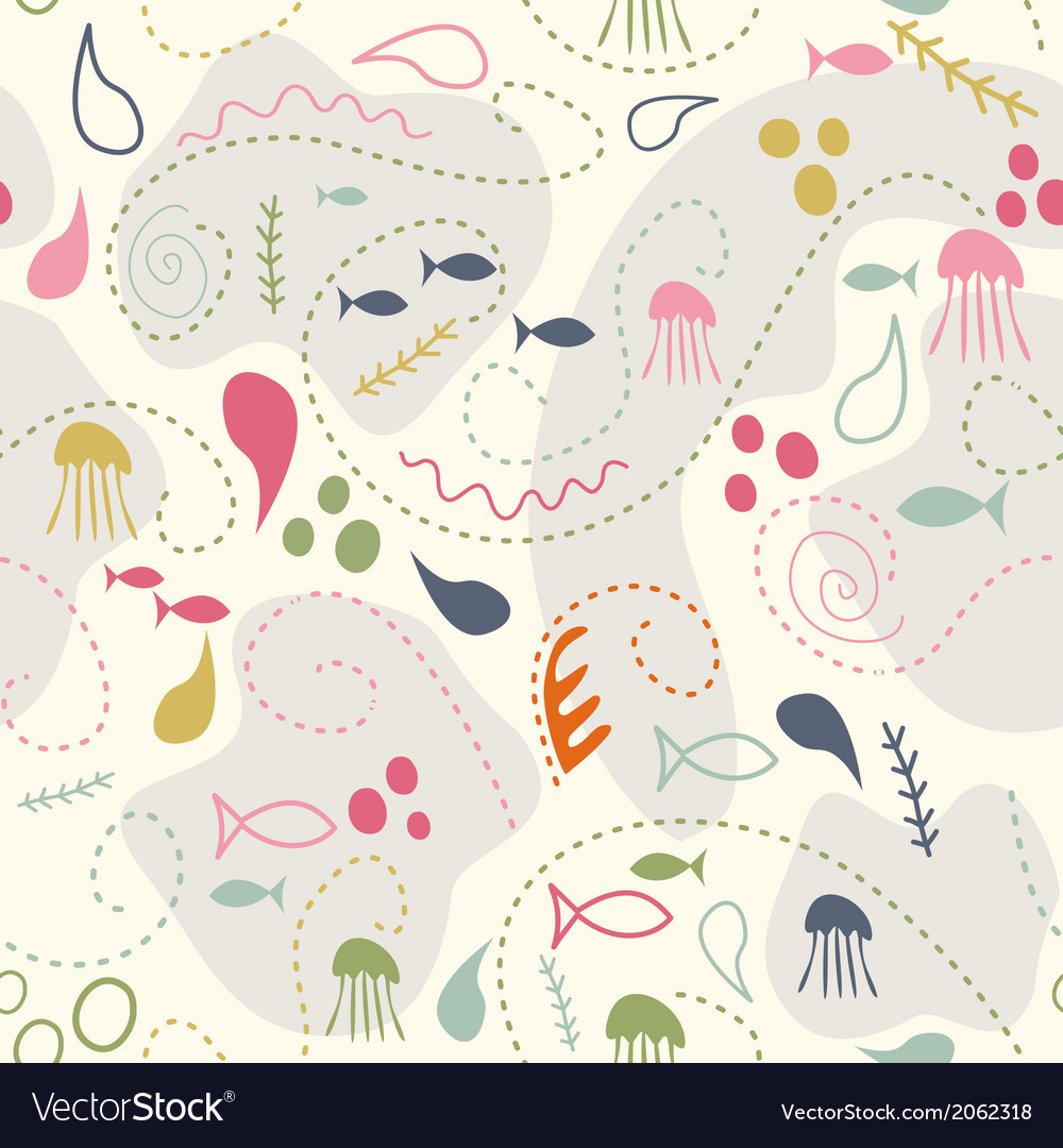 Sea world seamless pattern under water world vector image