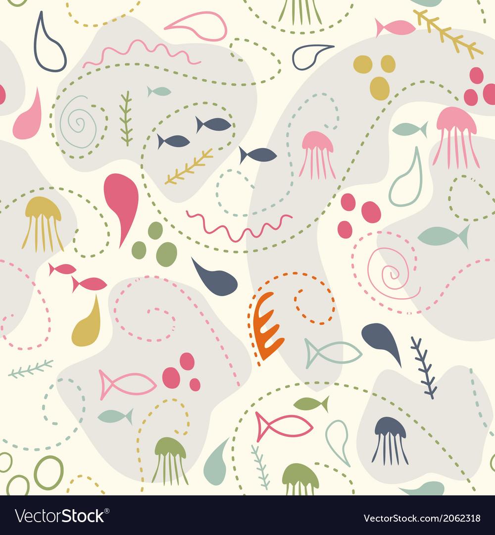 Sea world seamless pattern under water world