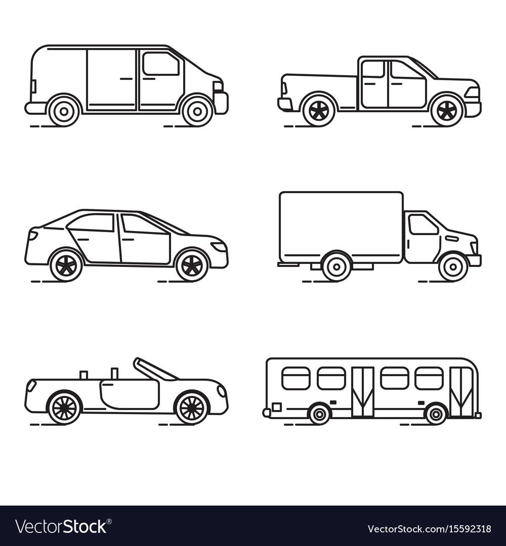 Set of thin line transportation icons