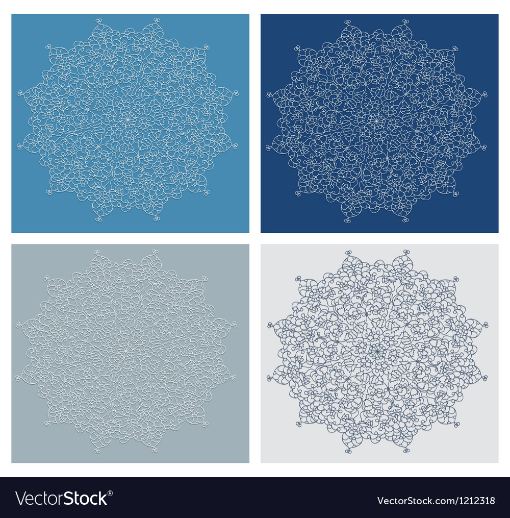 Set of vintage snowflake on blue background