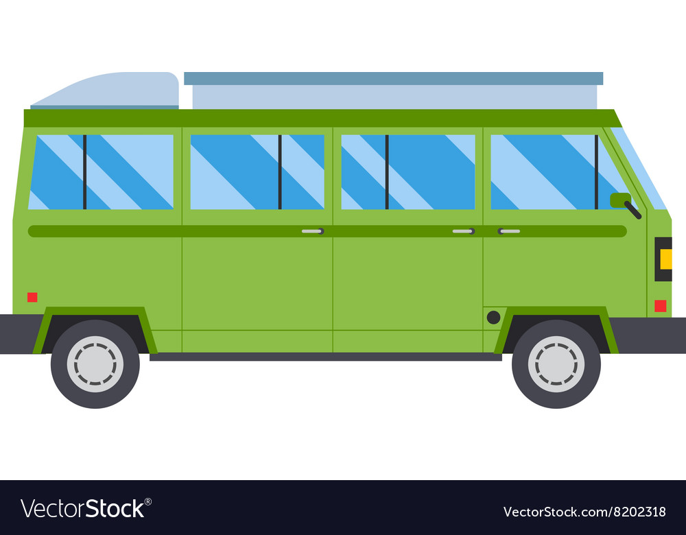 With green bus road travel