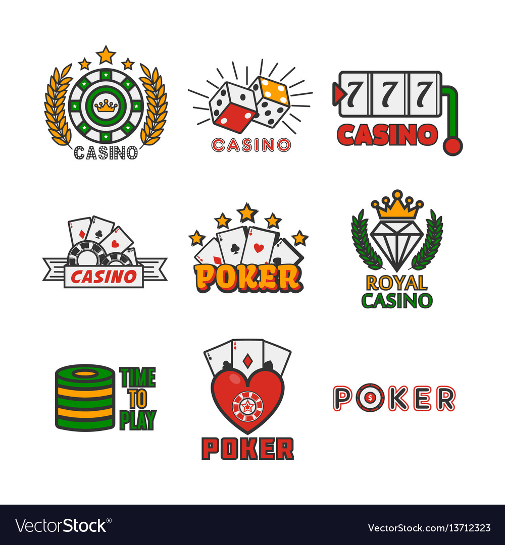 Casino template with colorful logo labels