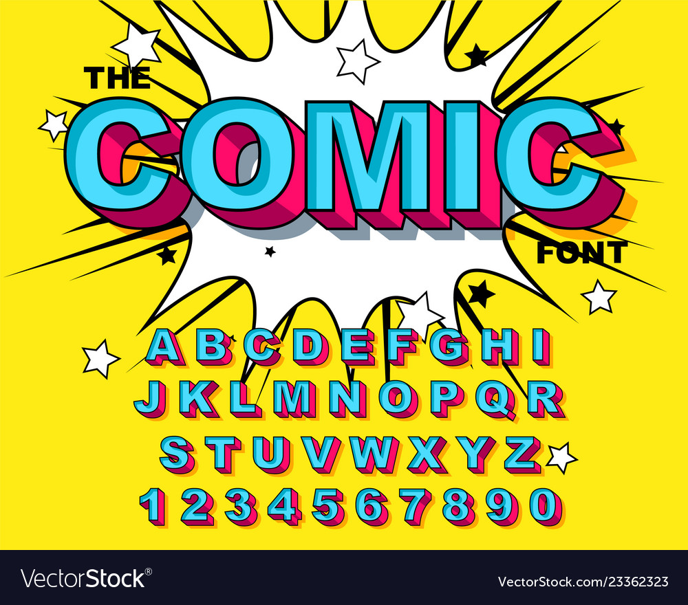 Comic alphabet retro blue letters numbers for