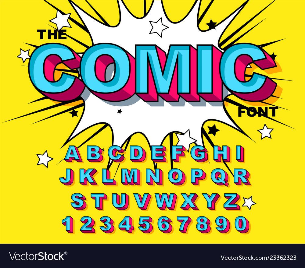 Comic alphabet retro blue letters numbers