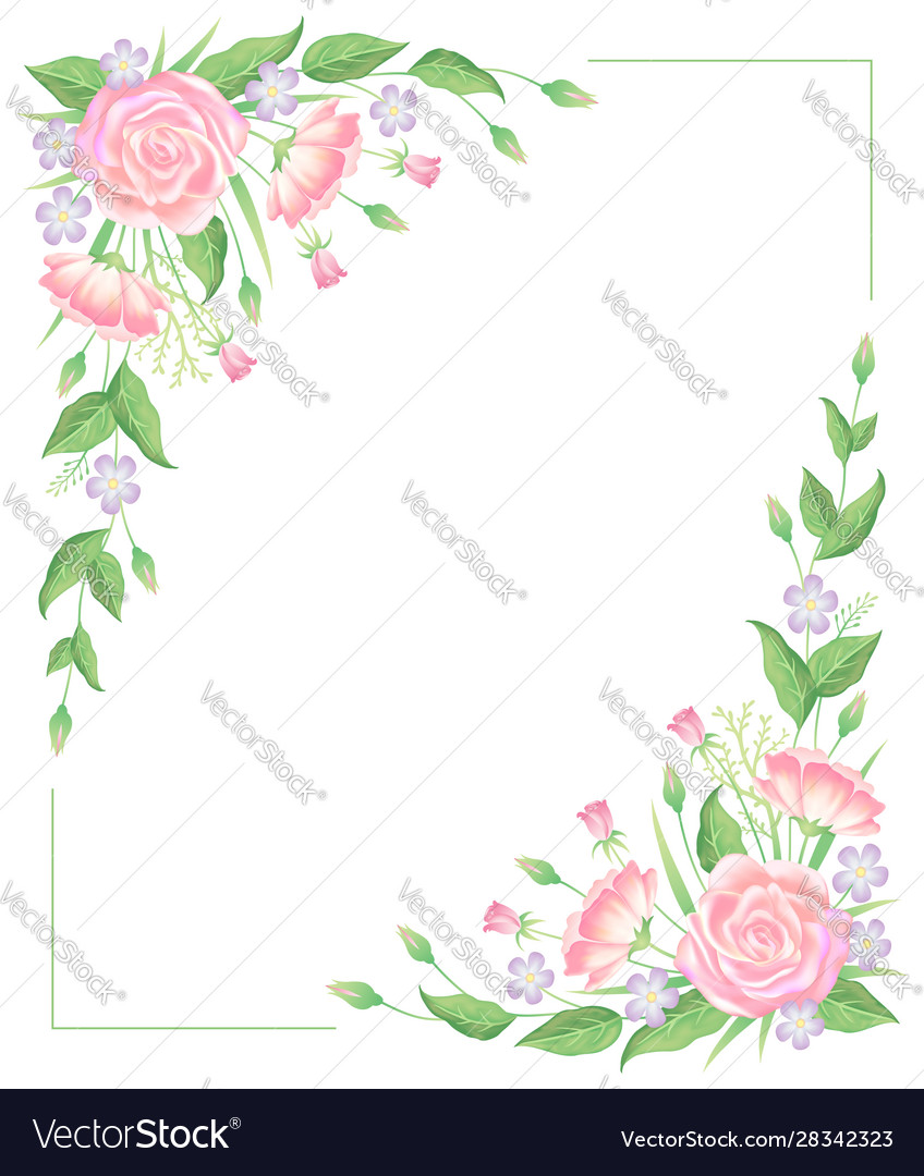 Floral frame water color template decoration