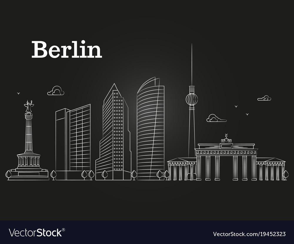 Germany berlin line landscape city vector