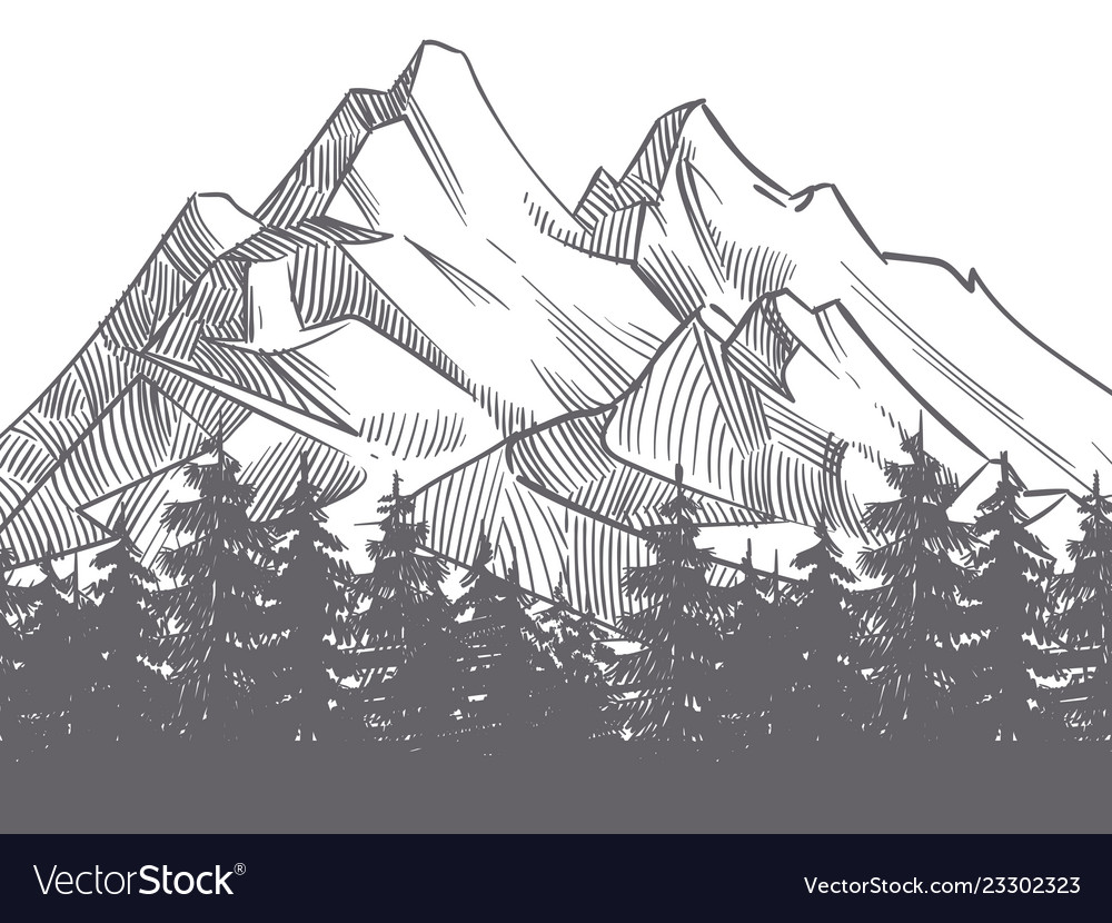 Hand drawn nature landscape with mountains and vector