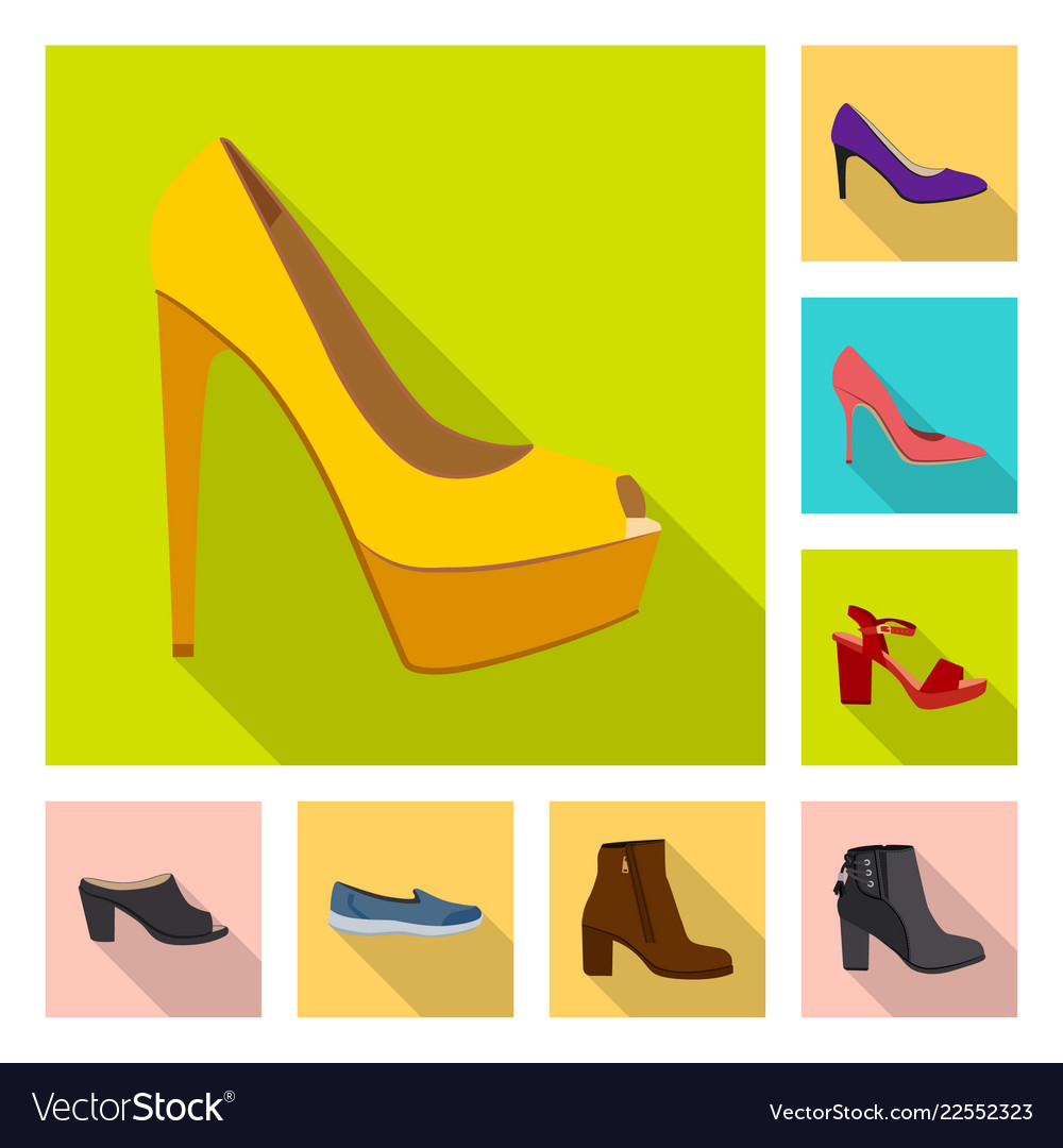 Isolated object of footwear and woman logo