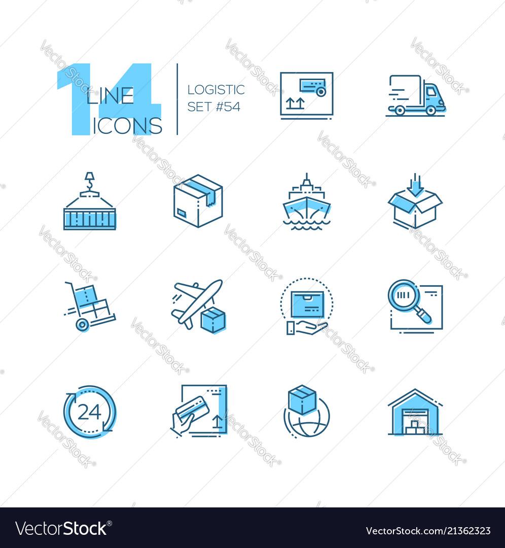 Logistics - modern thin line design icons set