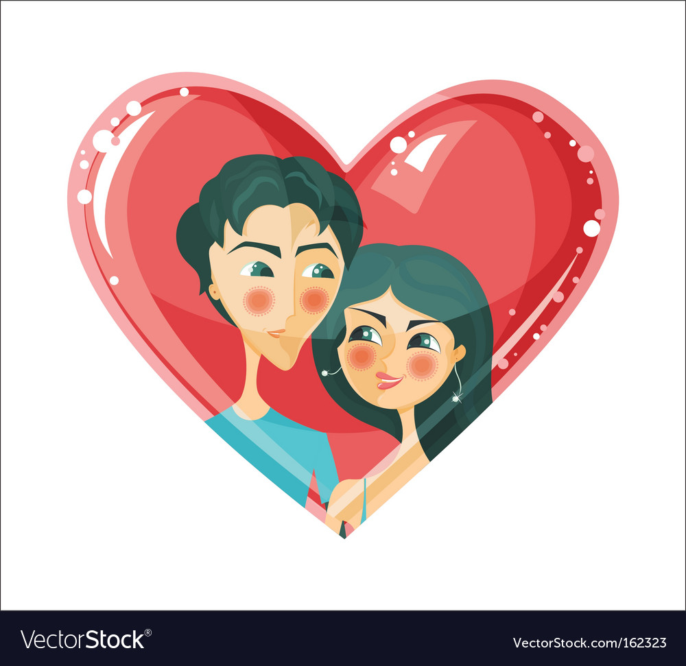 Lovers in heart vector image