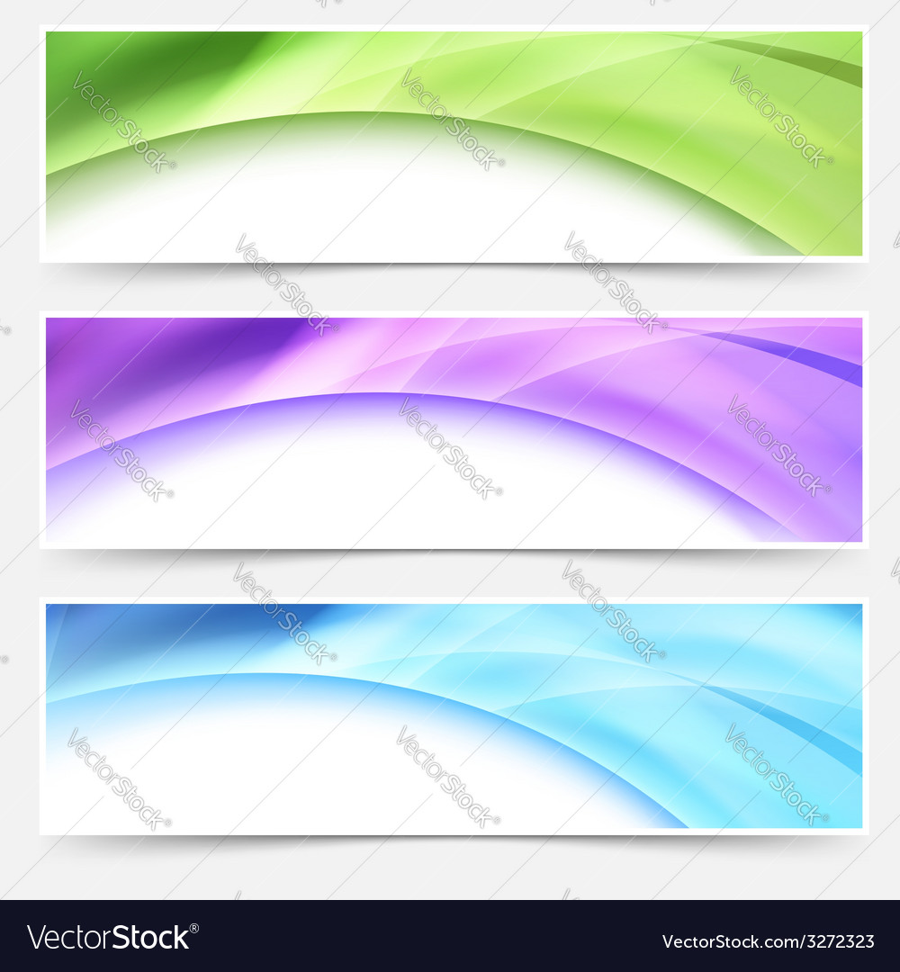 Modern web bright glowing header footer set