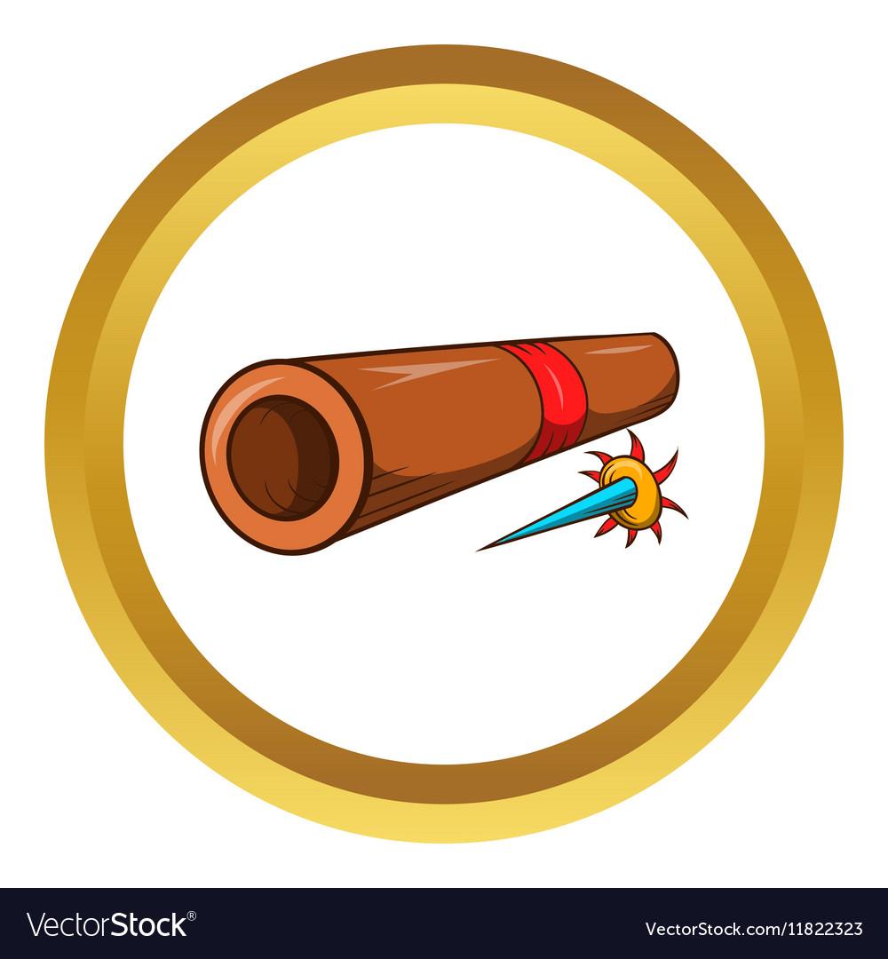Ninja bamboo tube with arrow icon vector image