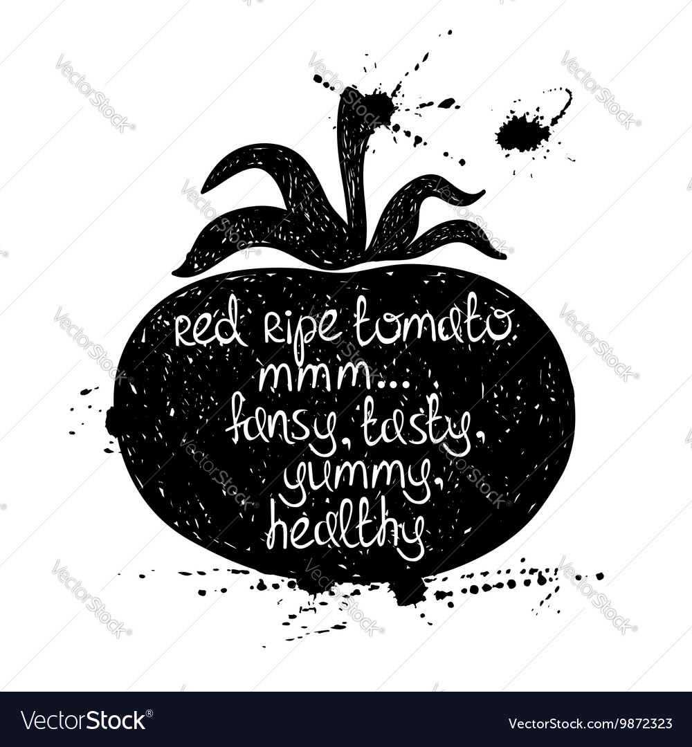 Of Isolated Black Tomato Silhouette