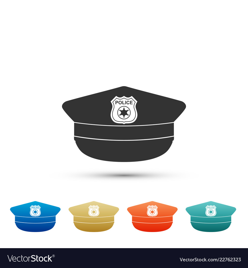 Police cap with cockade icon police hat sign Vector Image 85a14e54ccb