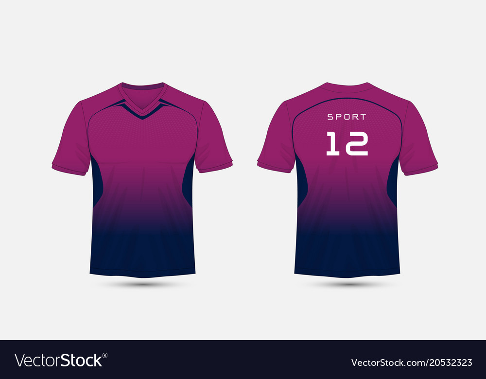 Purple and blue layout football sport t-shirt vector image
