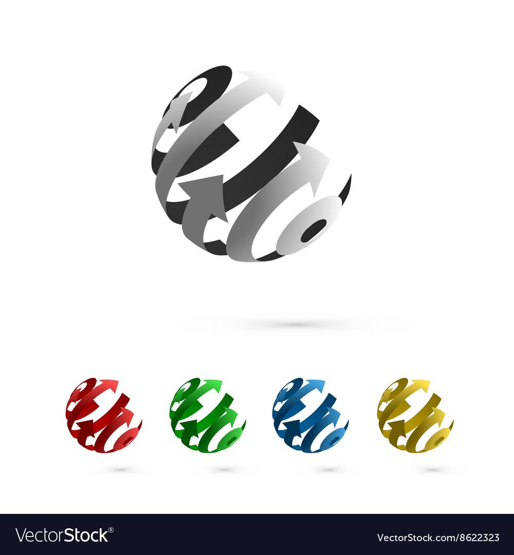 Set abstract globe rotating arrows