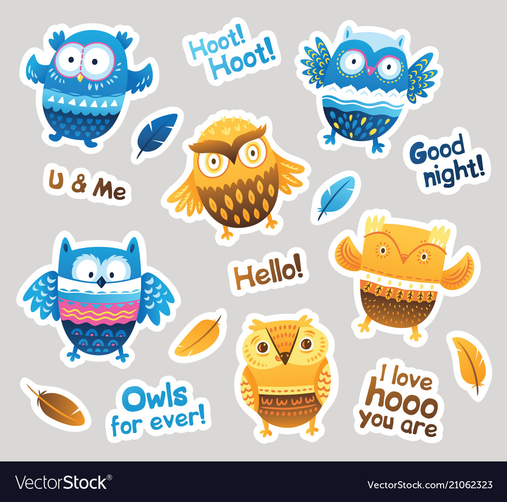 Stickers designs with blue and orange owls and