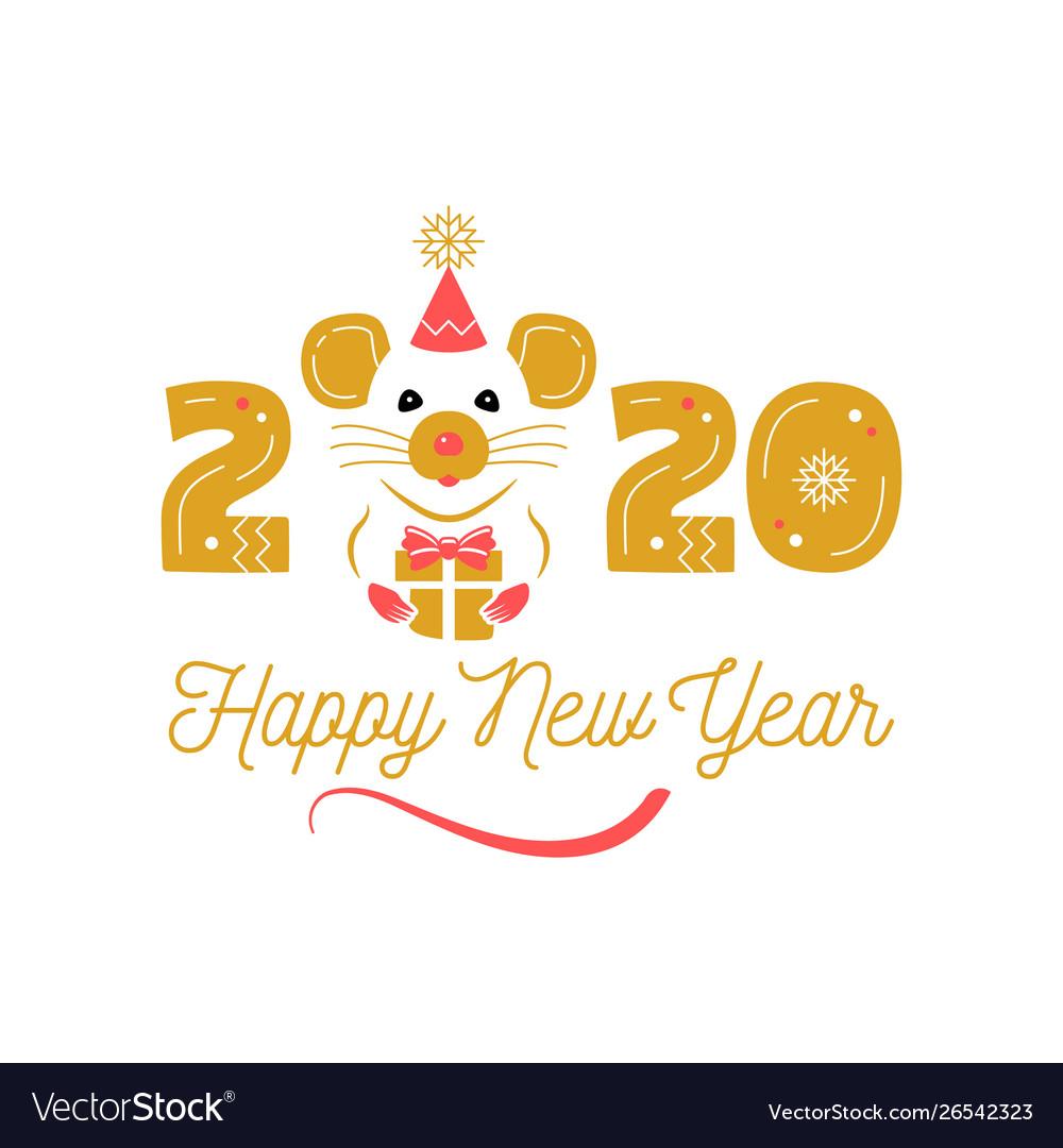Year rat 2020 chinese zodiac happy new Royalty Free Vector