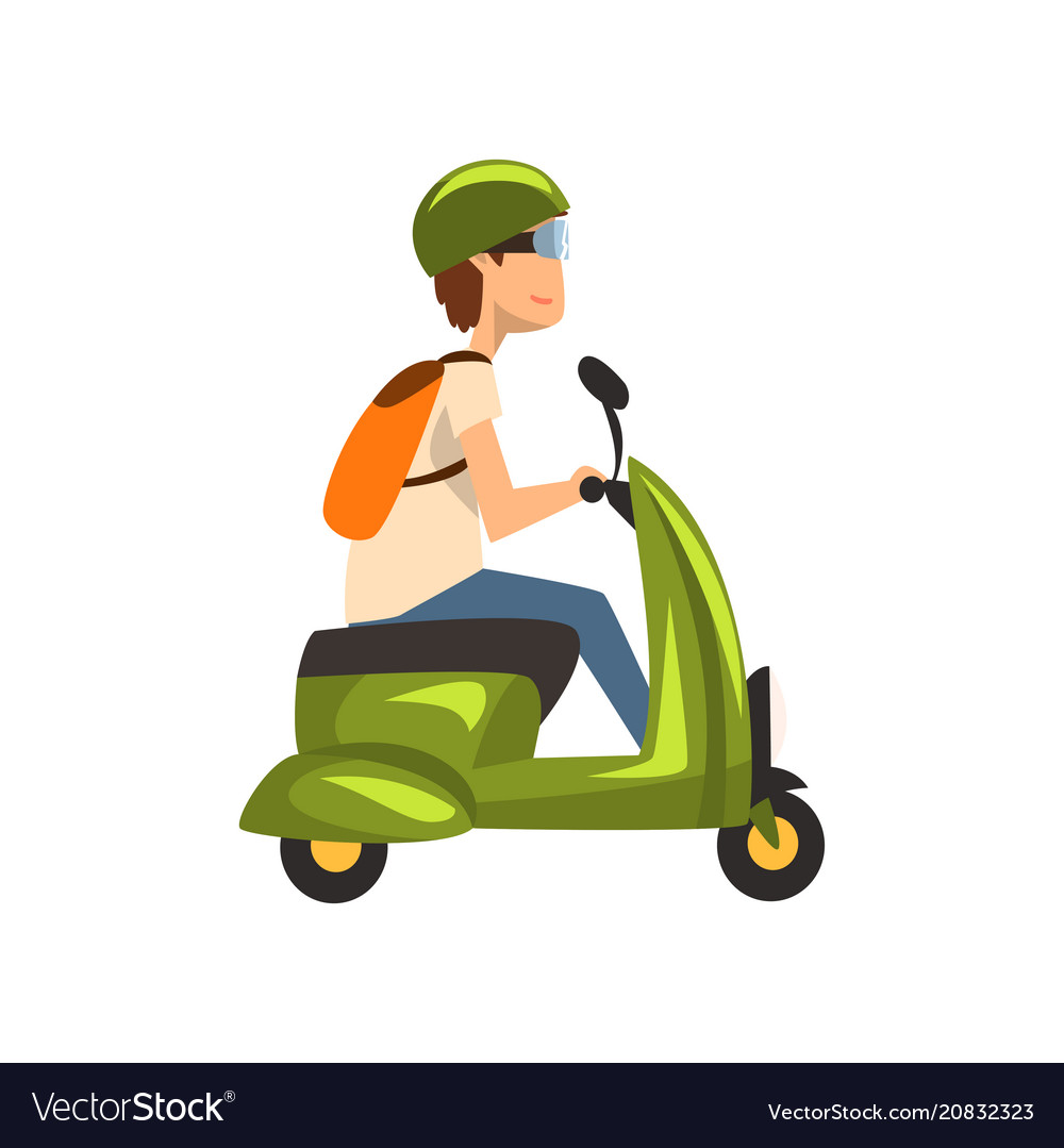 Young man in green helmet riding scooter