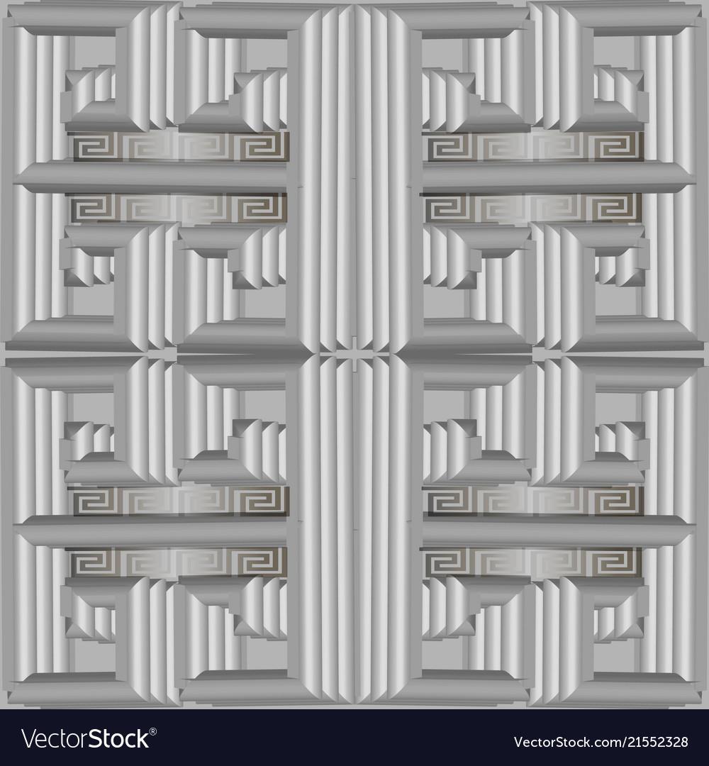 3d silver greek geometric seamless pattern
