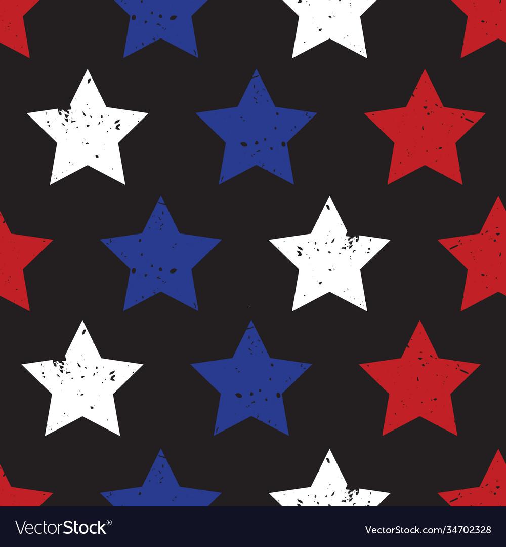 Blue red stars on black seamless background