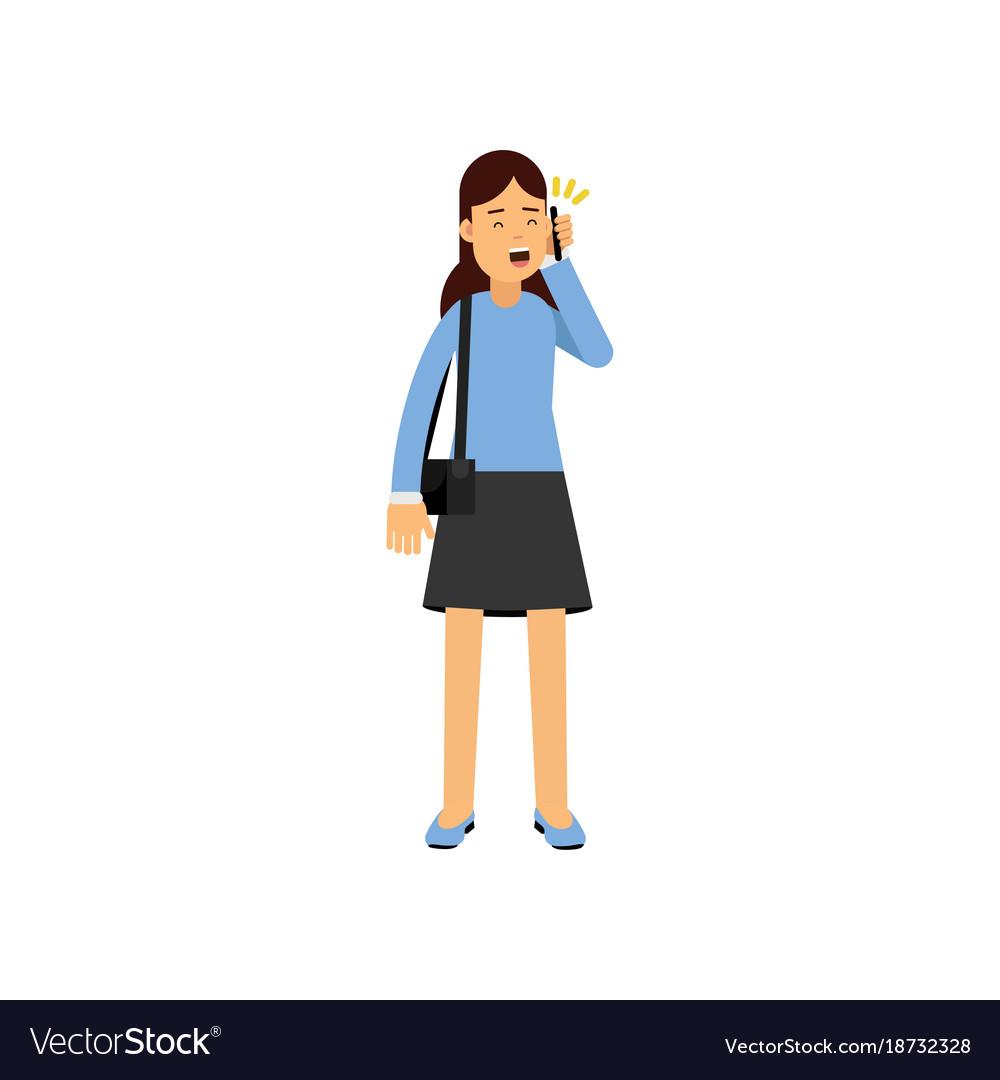 Brunette girl talking by phone female student vector image