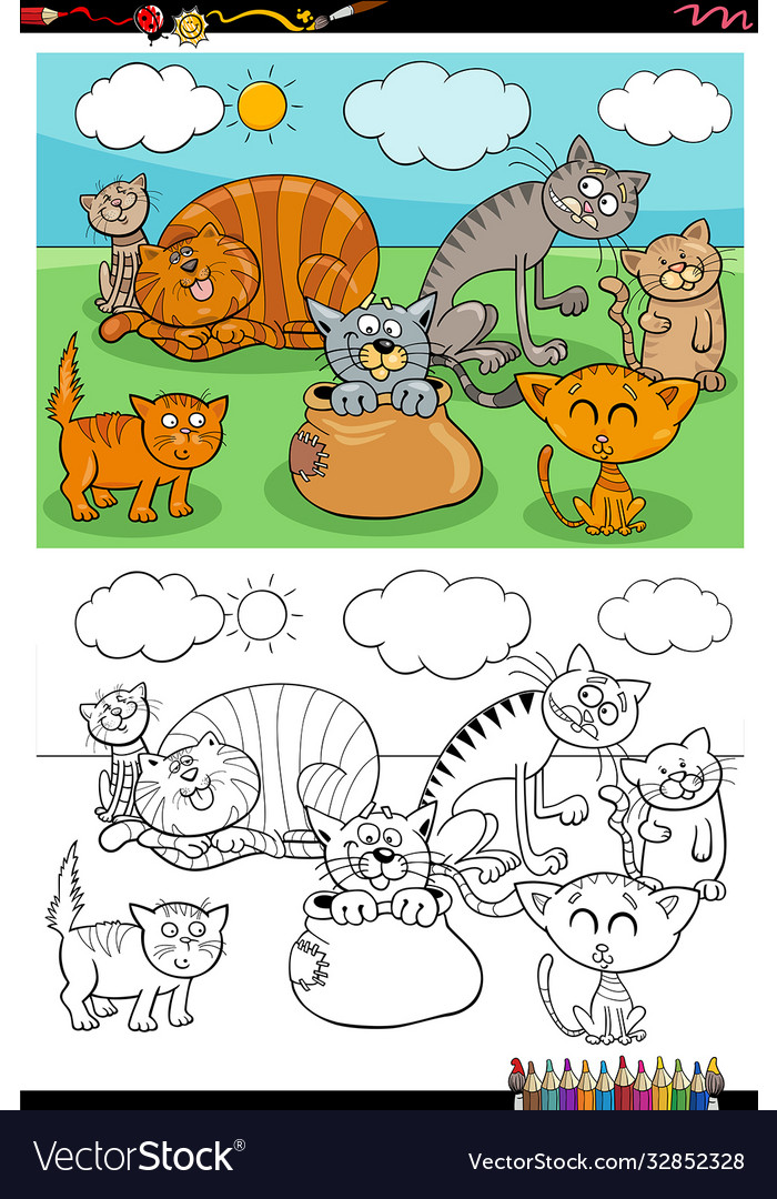 Cartoon funny cats group coloring book page