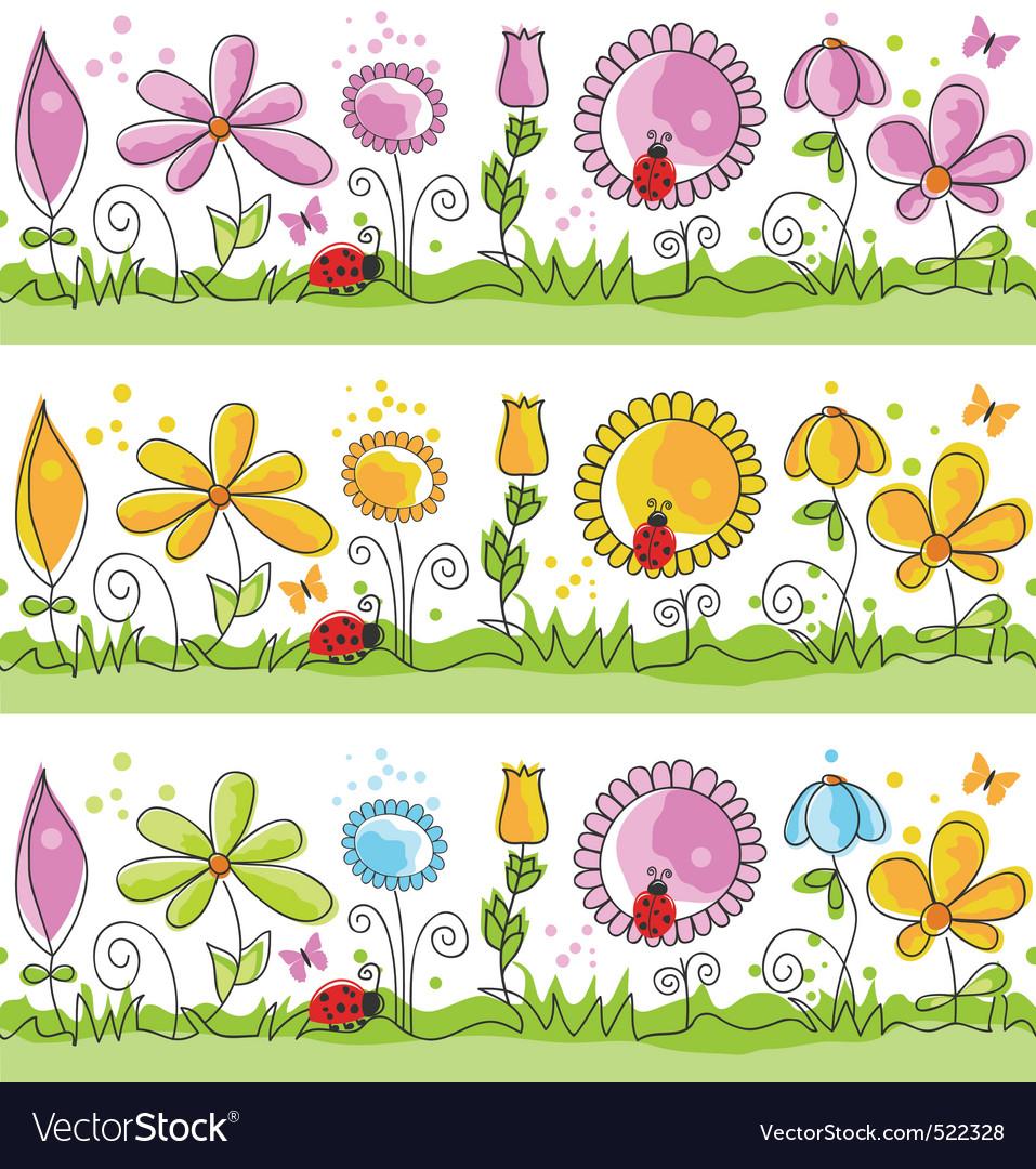 Cartoon summer nature scene vector image