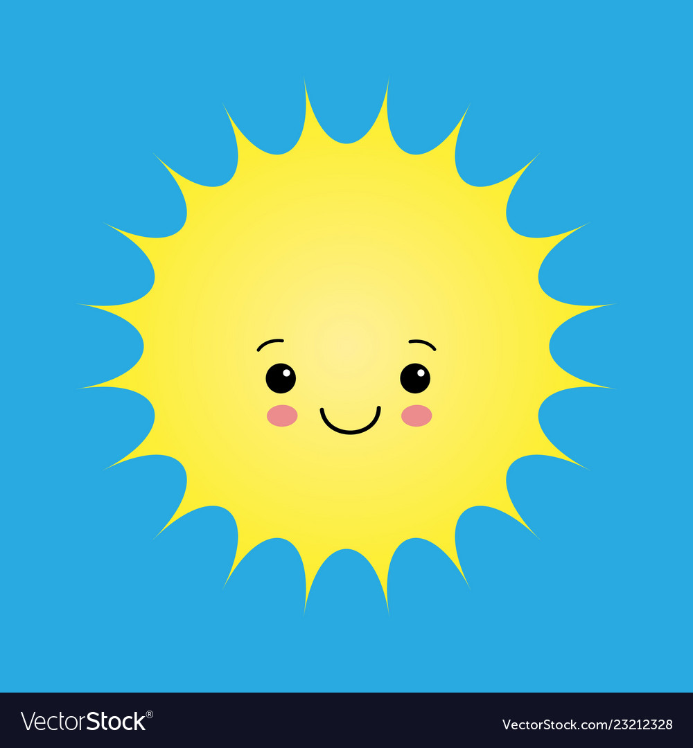Funny sun icon isolated on white background flat