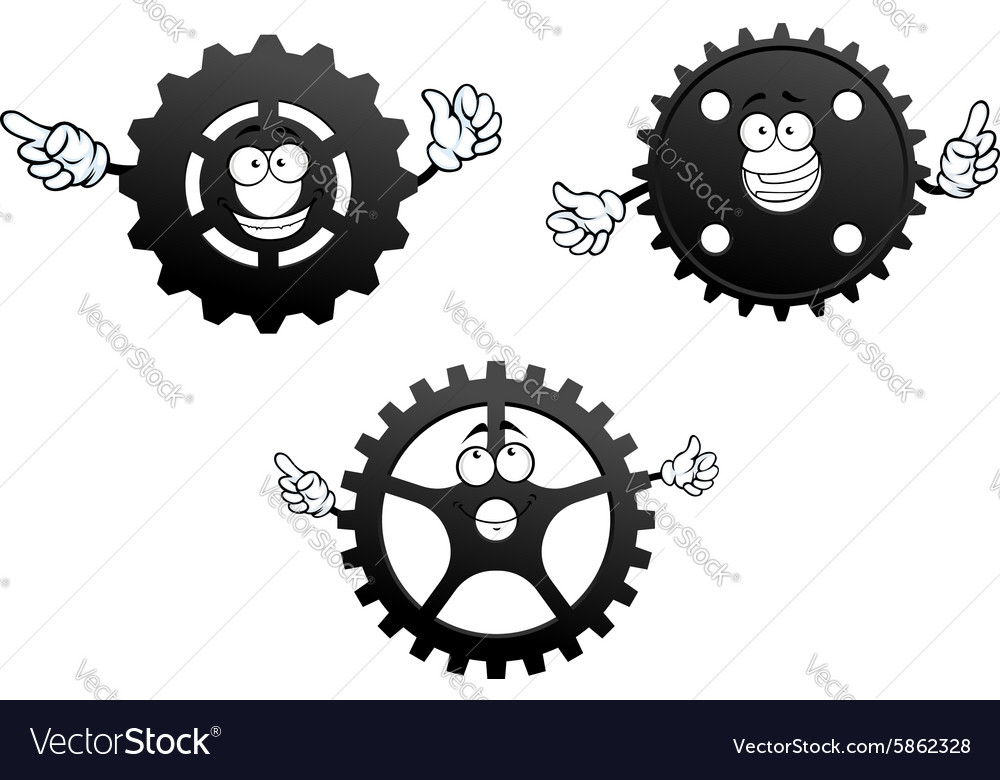 Gear wheels with funny faces and hands vector image