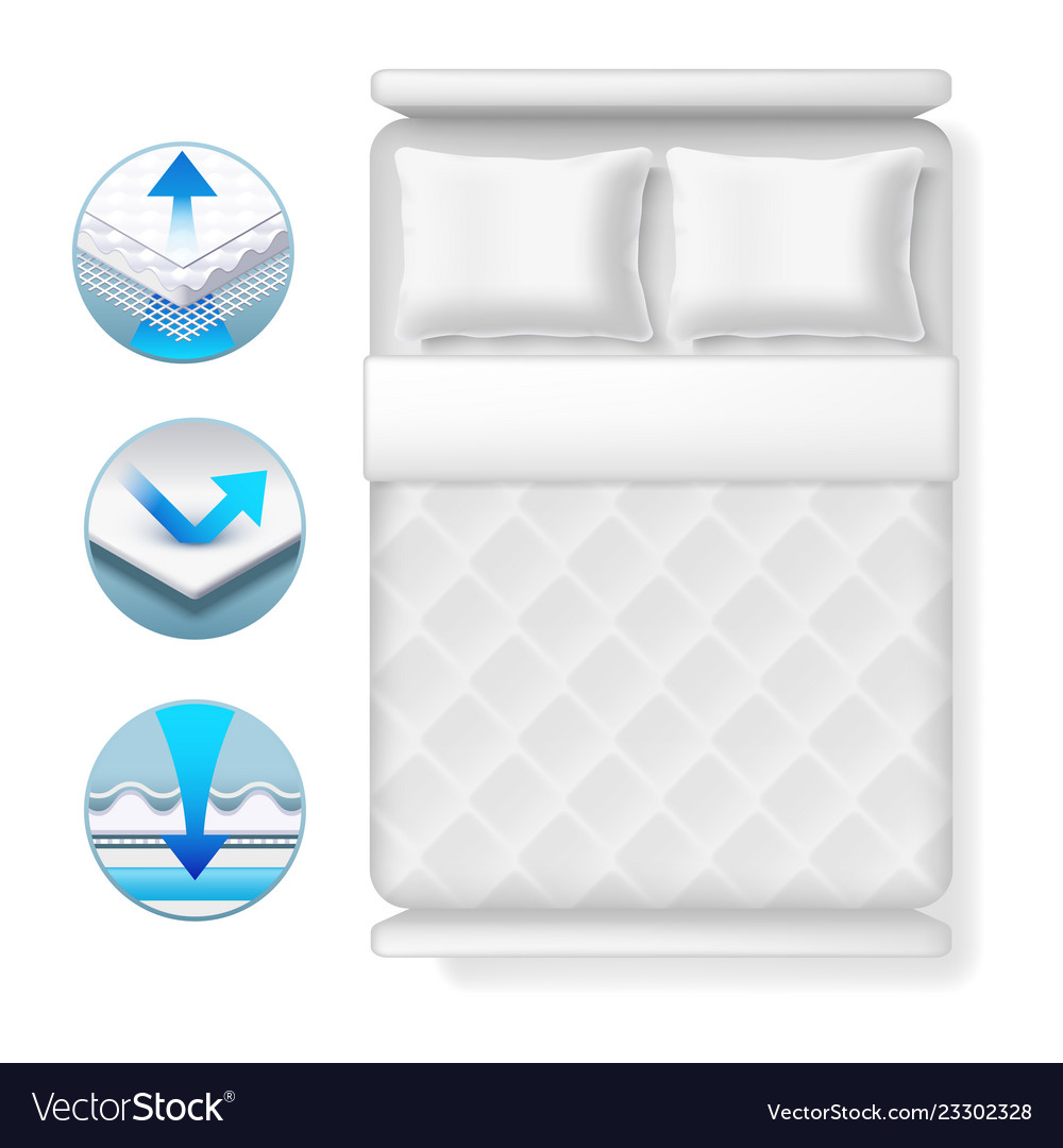Info icons about bed mattress realistic white bed