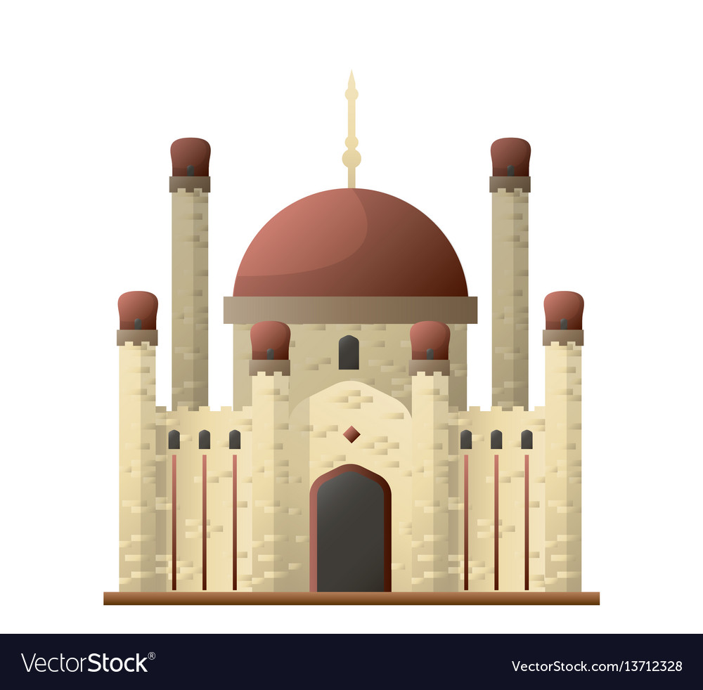 Islamic mosque ancient castle with round roofs and