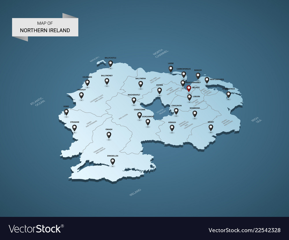 Map Of Northern Ireland And Ireland.Isometric 3d Northern Ireland Map Concept
