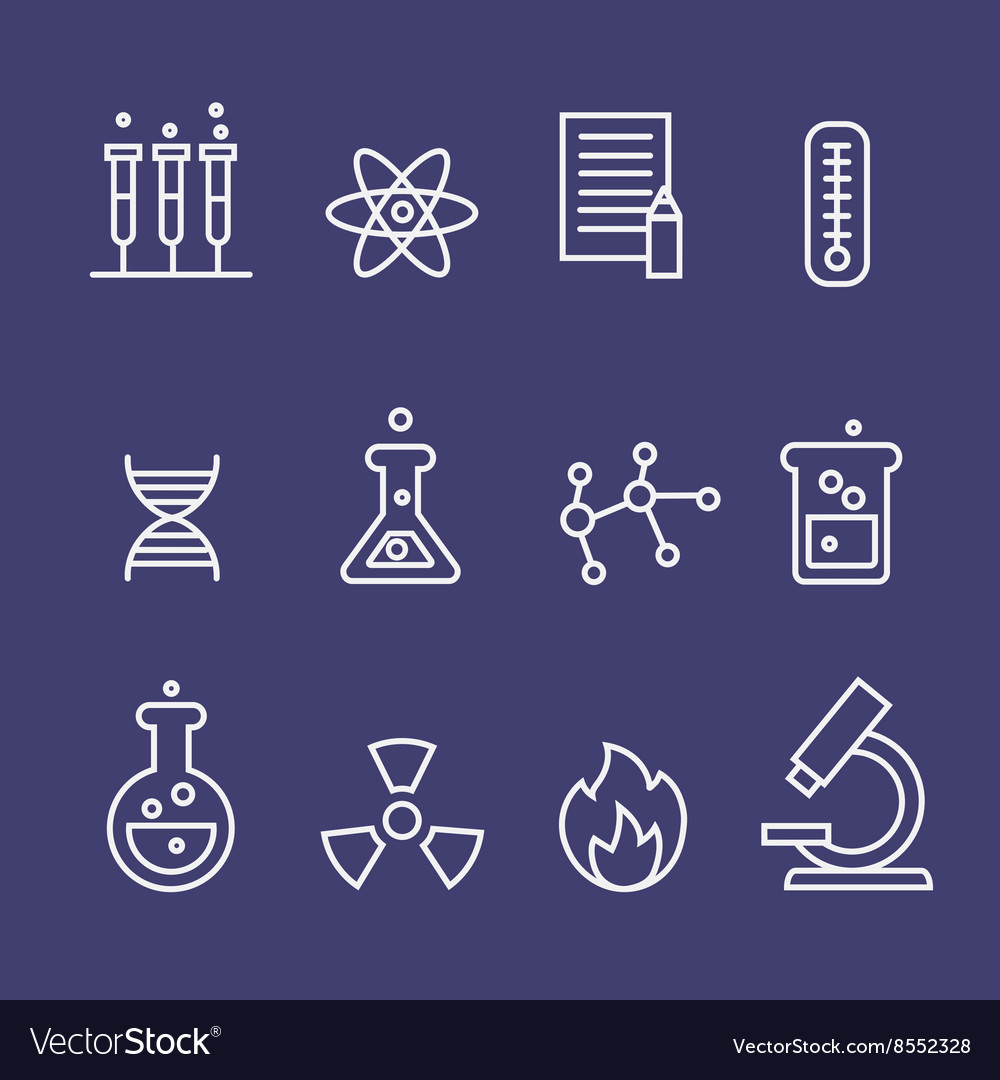 Science and chemistry research thin line icons