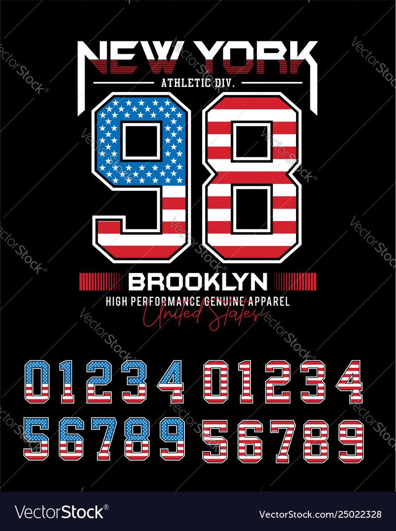 Set numbernew york brooklyn 98 typography design