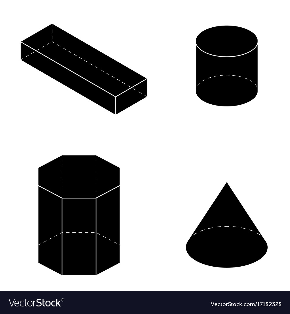 Set of basic geometric shapes geometric solids