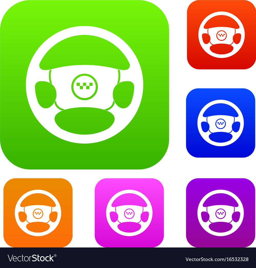 Steering wheel of taxi set collection vector image