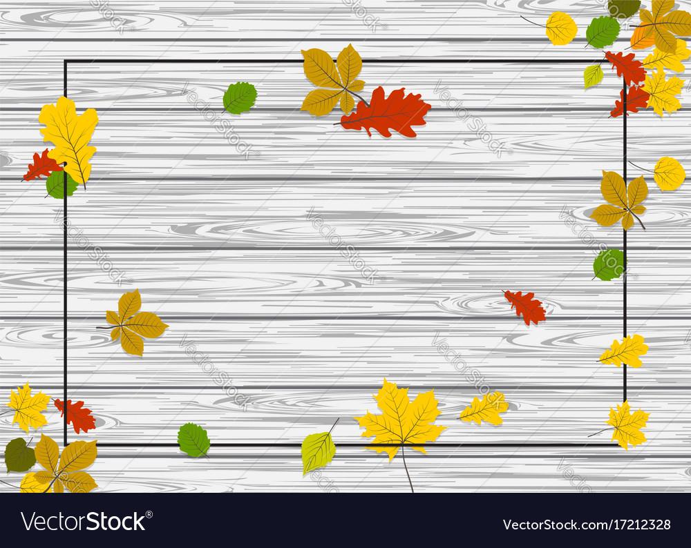 Wooden autumn border leaf background
