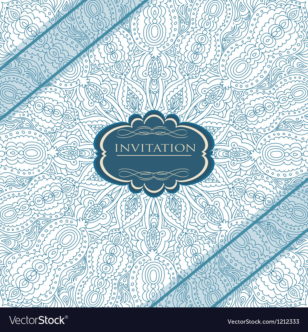 Beautiful blue invitation card vector image