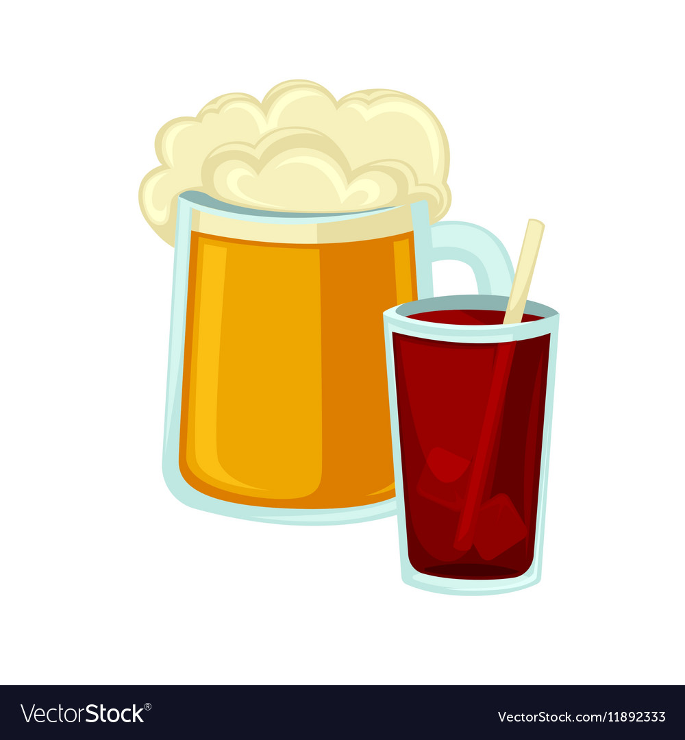 Big mug of beer with foam and glass cola straw vector image