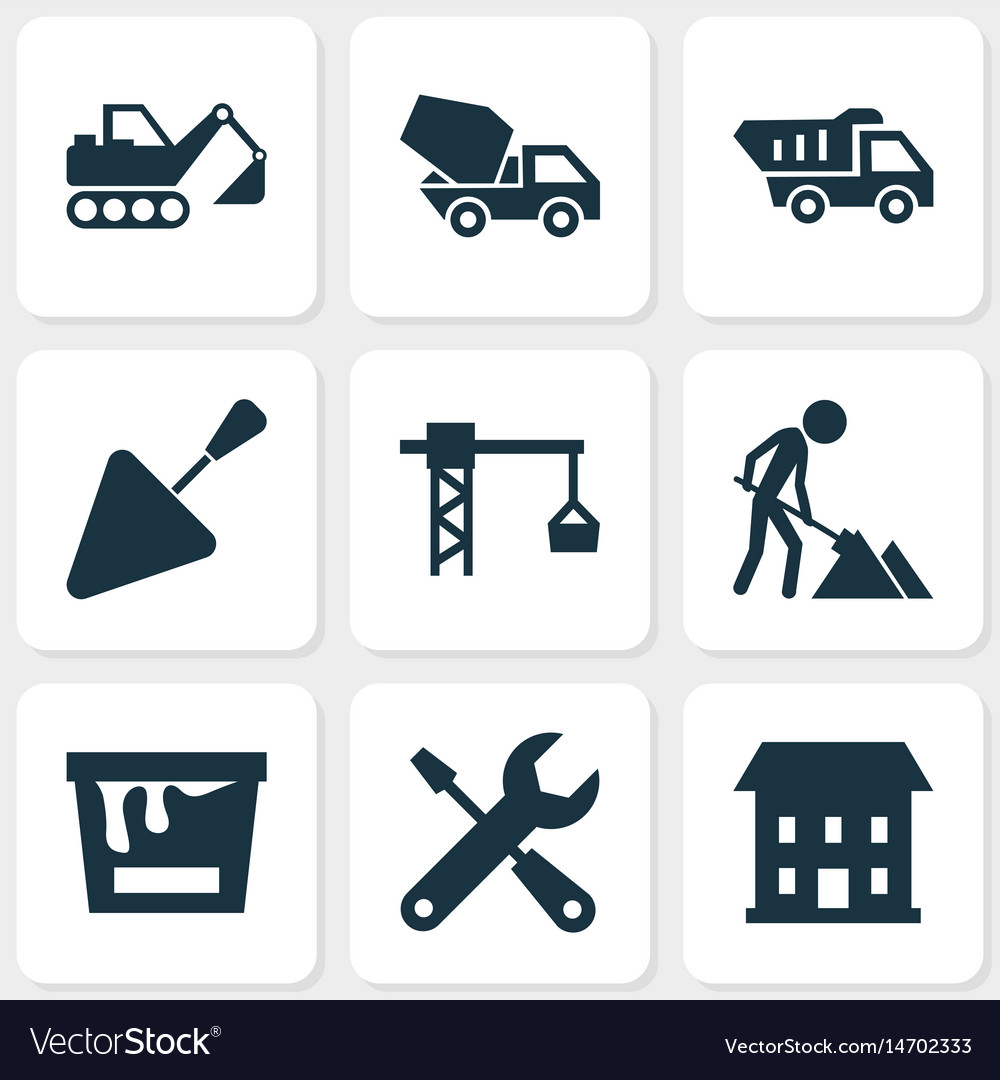 Building icons set collection of truck lifting