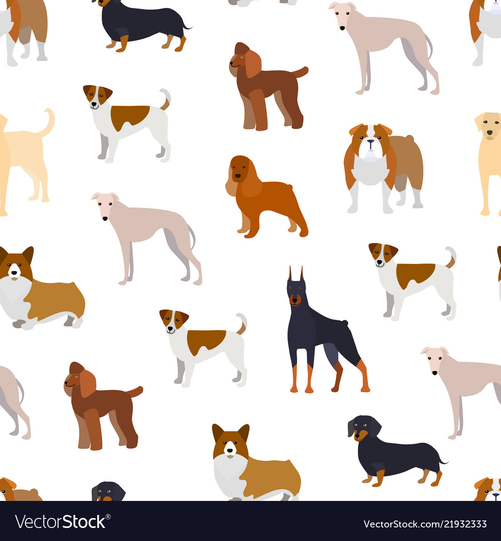 Cartoon breed of dogs seamless pattern background