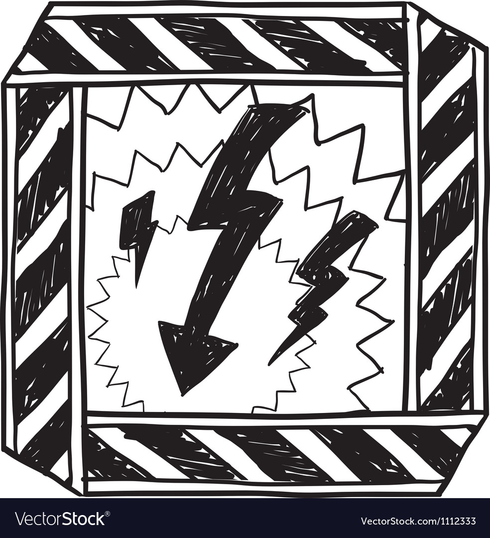 Doodle danger electric shock vector image