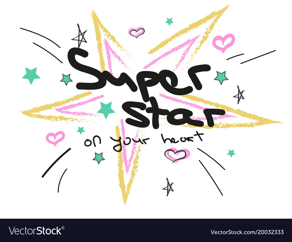 Doodle stars and hearts and text in pastel colors