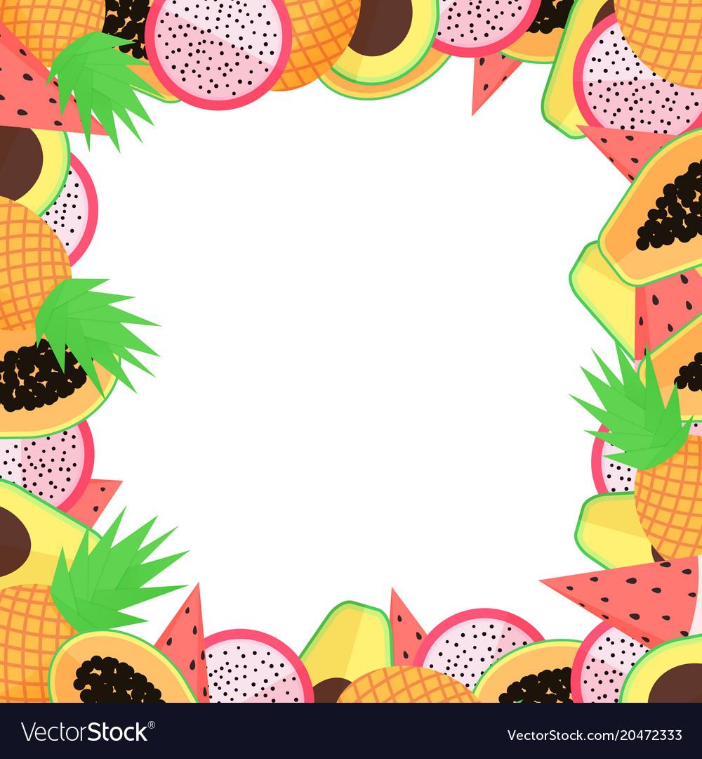 Exotic fruit frame with papaya avocado pineapple vector image