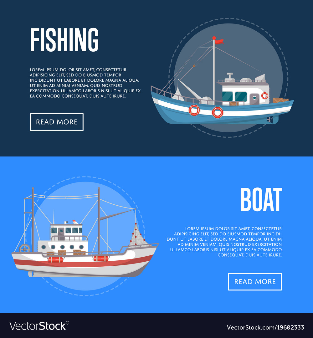Fishing company flyers with commercial small boats vector image
