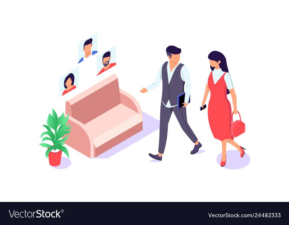 Flat businessman and businesswoman go near chair