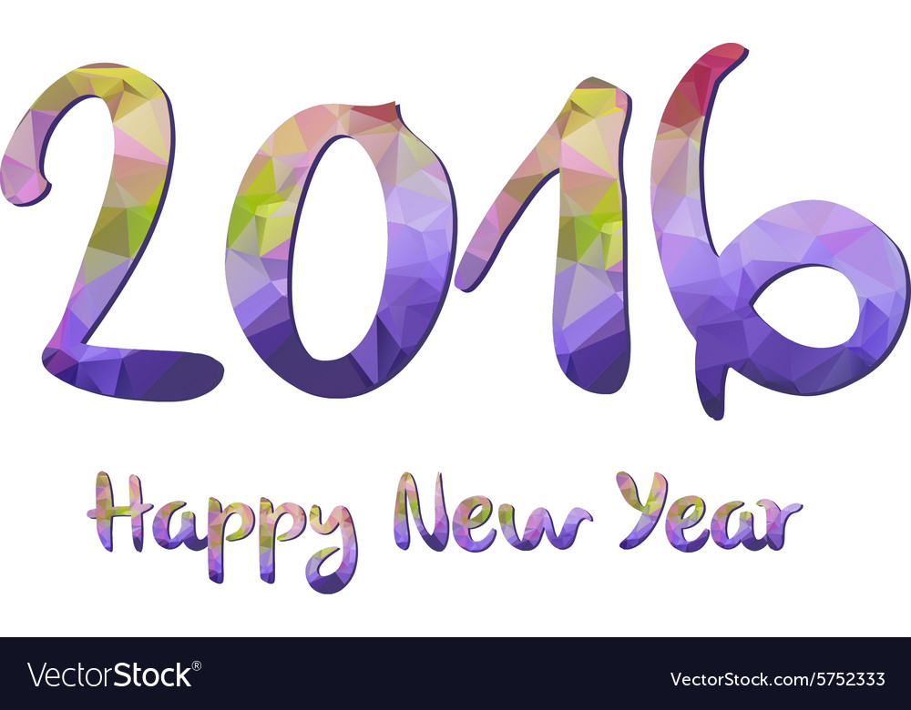 happy new year 2016 purple greeting card made in vector image