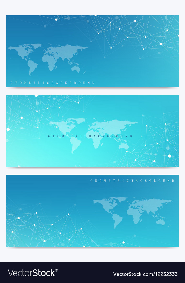 Modern Set Of Banners With World Map Royalty Free Vector